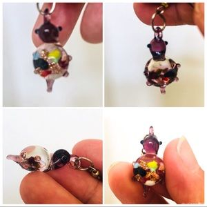 Artisan Blown Glass Bird Dangling Earrings
